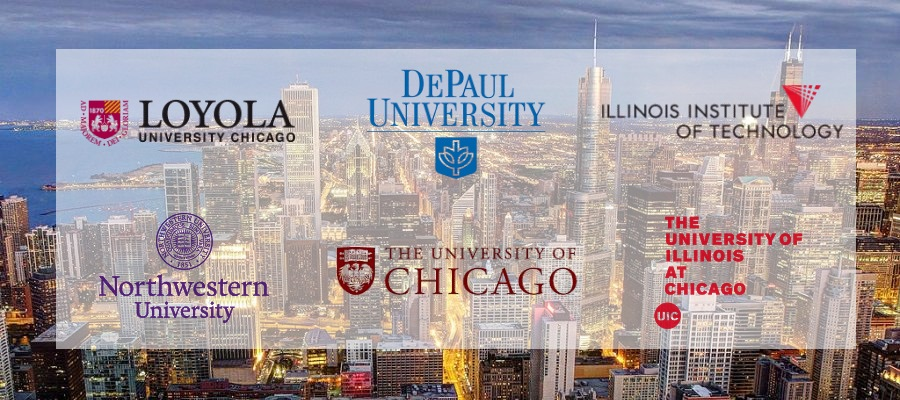 logos for Loyola University Chicago, Depaul University, Illinois Institute of Technology, Northwester nUniversity, University of Chicago, and University of Illinois - Chicago overlaid on an aerial view of downtown Chicago at night
